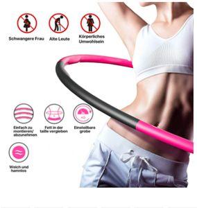 Hula-Hoop-Reifen Fitness Reifen mit Einstellbares Abnehmbarer  Fitness für Erwachsene Pink+Grau 88cm