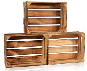 CHICCIE 3 Set Geflammte Obstkisten - 38 x 28 x 15cm Holzkisten Weinkisten Holz Kisten Apfelkisten Obstkiste