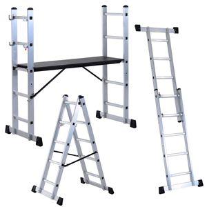 HOMCOM Multigerüst Leitergerüst Stehleiter Aluleiter Klapptritt Trittleiter Haushaltsleiter Mehrzweckleiter Stufenleiter Aluminium Silber 5 Stufen