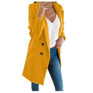 Frau künstliche Wolle elegante Mischung Mantel schlanke weibliche lange Mantel Oberbekleidung Jacke Größe:S,Farbe:Gelb