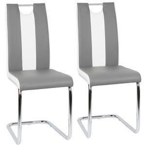 2 tlg Esszimmerstühle Set Freischwinger Stühle Schwingstuhl Hochlehner Esszimmer Grau und weiß