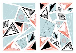 dekodino® Wandtattoo Retro Formen mit Muster Dreiecke 35 Stück Wohnzimmer
