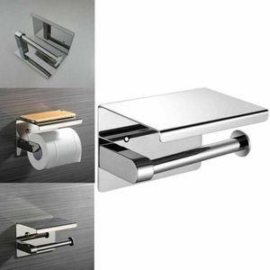 Melario Toilettenpapierhalter mit Ablage in SILBER Edelstahl Papierhalterung mit Ablage zum Bohren WC Papier Rollenhalter Klopapierhalter Klorollenhalter Edelstahl