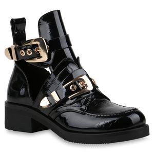 Mytrendshoe Damen Stiefeletten Ankle Boots Cut Outs Schuhe Booties 821375, Farbe: Schwarz, Größe: 39