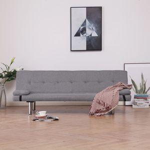 CHIC® Schlafsofa im skandinavischen Stil, Eckcouch|Polstersofa Bettsofa Lounge Sofa für Wohnzimmer mit zwei Kissen Hellgrau Polyester Größe:168 x 77 x (61,5 / 64/66) cm※1951