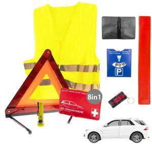 8in1 Sicherheit & Erste Hilfe Set Auto 2021 | Notfallset mit Warndreieck Pannenweste Verbandkasten uvm| KFZ Pannenset Pannenhilfe Unfall Zubehör Set | Sicherheits-Set Auto 2021 ideal als Starter Set