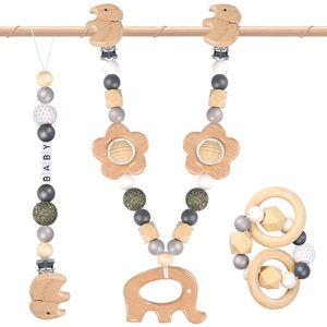 NightyNine Elefanten Kinderwagenkette Holzspielzeug Baby, Kinderwagenkette Holz Baby KinderaktivitätKinderwagenkette für Junge/Mädchen babys Kinderwagenkette