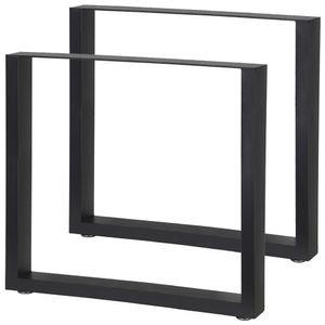 2 x Tischbeine Metall Schwarz Stahl Tischkufen Tisch Beine Fuesse Tischbein Kufen Möbel Stahl Möbelfüße Füße Eckig Industrial 80 x 72 cm V2Aox
