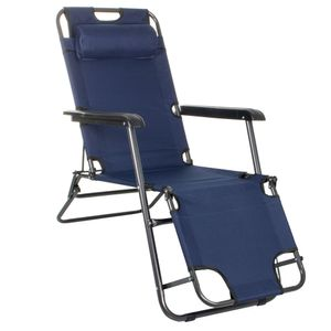 Sonnenliege Gartenliege Relaxliege Schaukelliege Liegestuhl Camping - Dunkelblau
