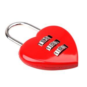 Herz Form Liebesschloss Zahlenschloss Kofferschloss Vorhängeschloss aus Legierung Valentinsgeschenk - Rot - 5,5X3,9X0,5cm