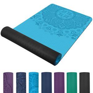 TOPLUS Pilatesmatte Gymnastikmatte,Yogamatte rutschfest aus TPE,Übungsmatte Sportmatte für Yoga,Pilates, Fitness- Dunkelblau-Hellblau(183 x 61 x 0,6cm )-Hellblau -schwarz
