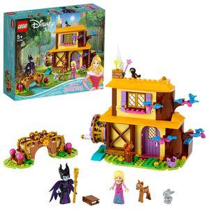 LEGO 43188 Disney Princess Auroras Hütte im Wald mit Prinzessin Dornröschen, Maleficent als Mini-Puppen und Tierfiguren, kleines Geschenk für Kinder