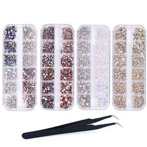 CANDeal 6400 stücke Mehrfarbig Mikro Strasssteine Nageldesign Klar Diamant Nagel Edelsteine Kristall Flach Rücken Nagelkunst Dekoration