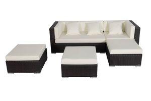 OUTFLEXX Loungemöbel-Set, braun, Polyrattan, 5 Personen, wasserfeste Kissenbox, inkl. Kaffeetisch