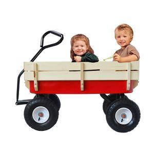 Outdoor Bollerwagen Klappbar Transportkarre Wagon All Terrain Pulling mit Holzgeländer Luftreifen Kindergarten
