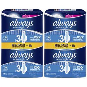 2 x Always Slipeinlagen Damenbinden Ultra Night 18 Stück