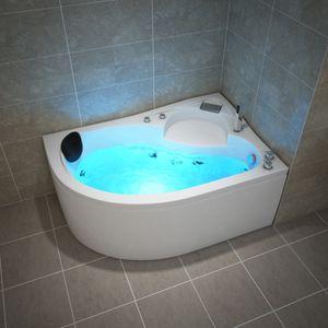 TroniTechnik Whirlpool Badewanne CAPRI LINKS 150cm x 100cm mit Spülfunktion, Wasserfalleinlauf Hydromassage und Farblichtherapie