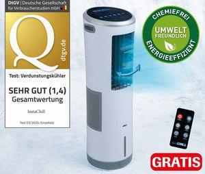Livington InstaChill – Kühler mit Wasserkühlung – mobiler Luftkühler mit 3 Kühlstufen – Klimagerät ohne Abluftschlauch für 12h Kühlung dank 8,5 L Tank, mit Fernbedienung, Luftbefeuchter