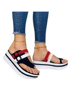 Damen Keilschuhe Einfarbig Sandalen Offene Zehen Strandschuhe Leichte Atmungsaktive Schuhe,Farbe: Marineblau,Größe:38