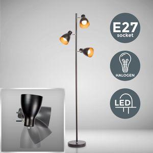 Stehleuchte schwarz gold LED E27 Metall Retro Standlampe Stehlampe Moderne Standleuchte Deckenfluter schwenkbar B.K.Licht