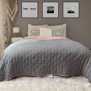 Tagesdecke Altrose/Grau Punktsteppung 240cm x 220cm Bett & Sofaüberwurf gesteppt und wattiert Bettüberwurf Bettdecken Überdecken
