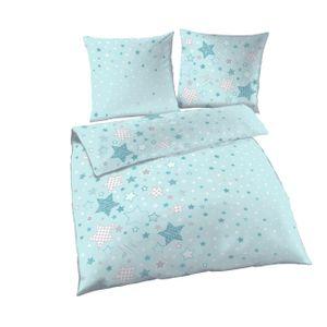 STARS - Sterne & Sternchen - Fein Biber Mädchen Bettwäsche in aqua, mint, grau - Kissenbezug 80x80 + Bettbezug 135x200 cm - 100% Baumwolle