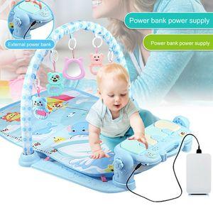 Musik Erlebnisdecke mit Spielbogen Babydecke Krabbeldecke Spielmatte Baby Decke Blau