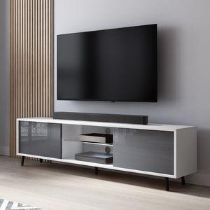 Selsey Lefyr – TV-Lowboard in Weiß Matt/Grau Hochglanz mit LED-Beleuchtung, 140 cm