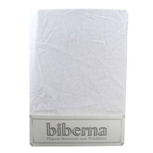 Biberna 02744 Feinbiber-Spannbettlaken Deluxe 150 x 200 cm, Farbe:Weiss, Grösse:150 cm x 200 cm