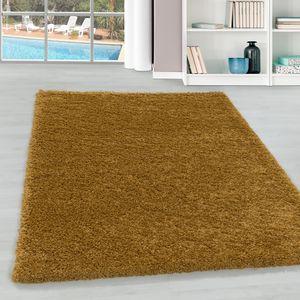 Teppium Hochflor Teppich, Wohnzimmerteppich, Unifarben Shaggy, Rechteckig GOLD, Farbe:GOLD,140 cm x 200 cm