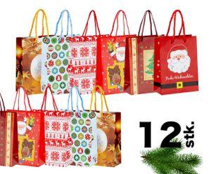 12x XXL Weihnachtstasche Classic Weihnachten Geschenktüte Weihnachtstüte Geschenktasche