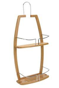 Duschregal für Badezimmer, Ablage, Hängeregal, Wandregal, Bambus und Metall - 2 Ebenen, 5five Simply Smart