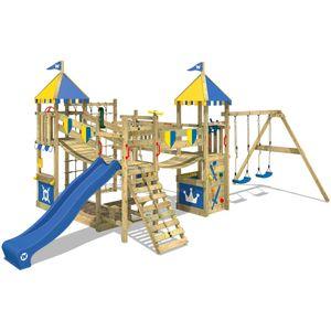 WICKEY Spielturm Ritterburg Smart Queen mit Schaukel & blauer Rutsche, Spielhaus mit Sandkasten, Kletterleiter & Spiel-Zubehör