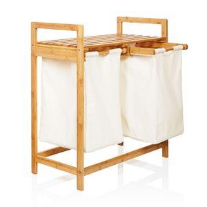 Lumaland Wäschekorb aus Bambus, mit 2 ausziehbaren Wäschesäcken, ca. 73 x 64 x 33 cm