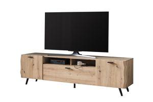 TV-Board Dallas-Dekor Baumkante Artisan Eiche-Softclose Türen-Unterflurauszüge-B180xH50 cm