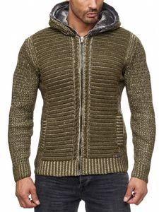 Herren Strickjacke warme Kapuzenjacke Fell-Kapuze Winter-Jacke RS-18002 Khaki L
