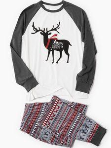 Familien passende Weihnachtspyjamas Set Holiday Santa Loungewear Nachtwäsche,Farbe:Papa,Größe:XXL