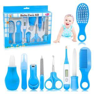 Baby Pflegeset 10-teiliges Baby Pflege Produkte Baby Pflegeset Erstausstattung Nagel und Nasen Pflege mit Tasche (Blau)