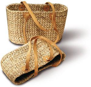Neustanlo® Einkaufstasche/Einkaufskorb 1 Stk, aus Wasserhyazinthe (Oval Klein Langer Henkel)