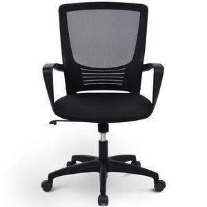 Bürostuhl Schreibtischstuhl Computertischstuhl ergonomischer Drehstuhl Chefsessel mit Rückenlehne, Schreibtischstuhl mit Höhenverstellung, Schwarz