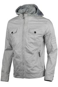 Herren Baumwolle Jacke Übergangsjacke mit Kapuze Sommer Frühling Windbreaker, Größe:3XL, Farbe:Hellgrau