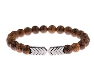Perlen-Armband Naturholz Yoga Meditations-Kettchen Metall-Anhänger Gummizug