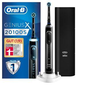 Oral-B Genius X 20100S Elektrische Zahnbürste, mit künstlicher Intelligenz und Premium Lade-Reise-Etui, schwarz