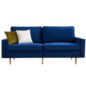 3-Sitzer-Sofa inkl. 2 extragroßen Rücken-Kissen,Microfaser,180cm Schlafsofa,Modernes Design Blau