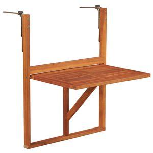 Dowofuu Hängender Balkontisch 64,5x44x80 cm Massivholz Akazie