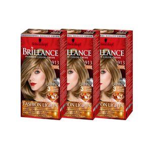SCHWARZKOPF BRILLANCE Intensiv-Color-Creme 913 Honigblond Balayage 142,5ml , 3er Pack