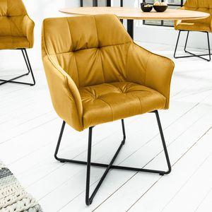 Retro Stuhl LOFT senfgelb Samt Esszimmerstuhl Armlehnstuhl Polsterstuhl mit Armlehne