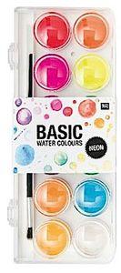 Rico Design Basic Neon Wasserfarbkasten / Tuschkasten - 12 Wasserfarben & 1 Pinsel zum Tuschen und Malen- Malkasten / Farbkasten