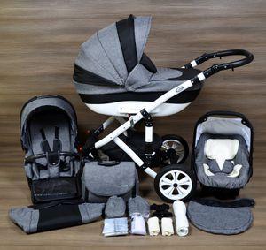 LUXUS Kombi Kinderwagen ALU 3in1 FLORENZ Babyschale Autositz Babywanne Sportsitz (15,Lufträder  R1 weiss,weiss)