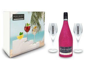Scavi & Ray Bling Bling Hot Pink Glitzer Giftbox Geschenkset - Scavi & Ray Prosecco Frizzante 0,75l (10% Vol) + 2x Prosecco Gläser -[Enthält Sulfite]